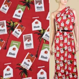 Штапель красный, пачки сигарет, пальмы, ш.140