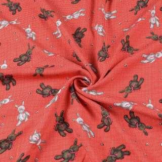 Штапель стрейч красный, плюшевые зайки, ш.155
