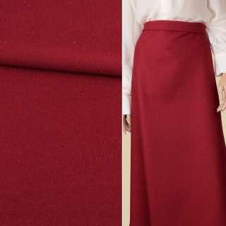 Ткань костюмная диагональ красная темная с цветными вкраплениями ш.150