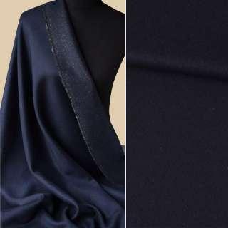 Шерсть пальтовая с метанитью золотистой синяя темная, ш.150