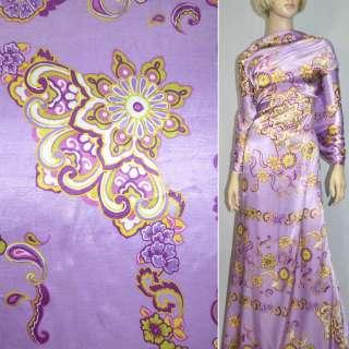 Атлас сиреневый с цветочным орнаментом