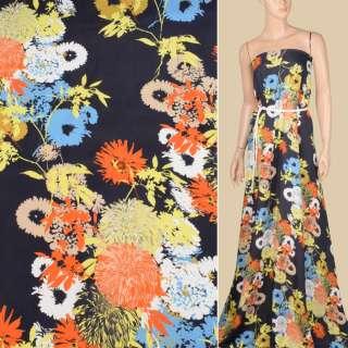 Віскоза атласна синя темна, жовті, помаранчеві, блакитні квіти, ш.150