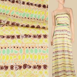 Віскоза атласна бежева світла, лимонно-коричневий абстрактний візерунок, ш.140
