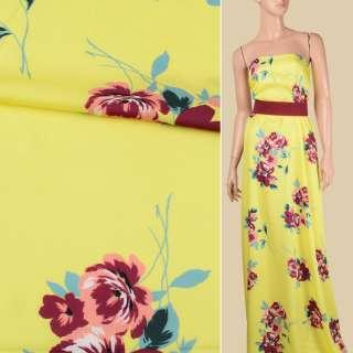Віскоза атласна лимонно-жовта, бордово-персикові квіти, ш.140