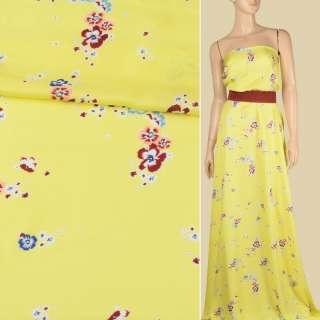 Віскоза атласна лимонно-жовта, дрібні бордово-персикові квіти, ш.140