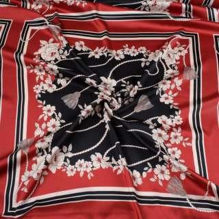 Атлас червоний, чорно-білий принт, хустку 63см, ш.147
