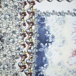 Батист бело-синий в коричнево-голуб. цветы ш.136