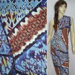 Батист голубой в разноцветные геометрические фигуры ш.142