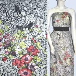 Батист белый с черными бабочками и красными цветами ш.136