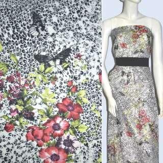 Батист белый с черными бабочками и красн. цветами ш.136