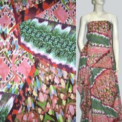 Батист розово-зеленый в геометрические фигуры с рисунком ш.142