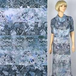 """Муслін """"Apanage"""" в смуги-візерунки сіро-блакитного-ФотоПринт ш.150"""