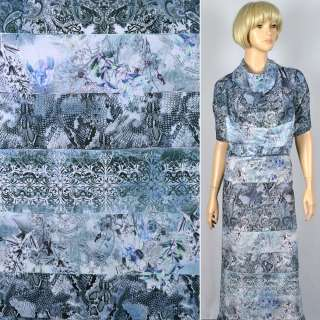 """Муслин """"Apanage"""" в полосы-узоры серо-голубого фотопринта ш.150"""