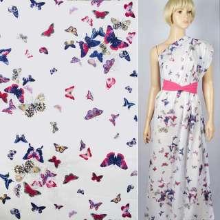 """Батист """"Apanage"""" белый в синие и розовые бабочки ш.145"""
