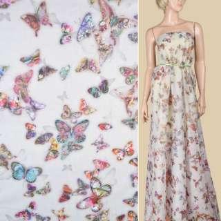 Батист молочно-серый с разноцветными бабочками ш.140