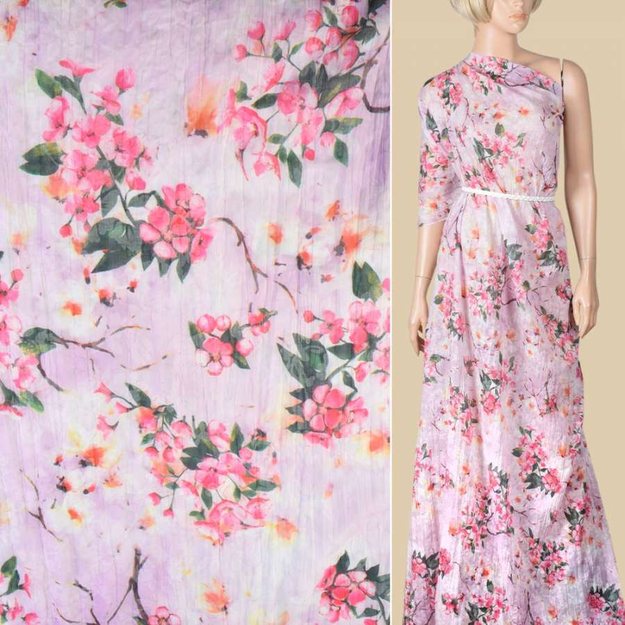 Батист деворе жатый сиреневый в розовые и белые цветы, ш.140