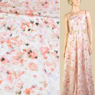 """Батист """"Apanage"""" белый в персиково-зеленые цветы ш.145"""