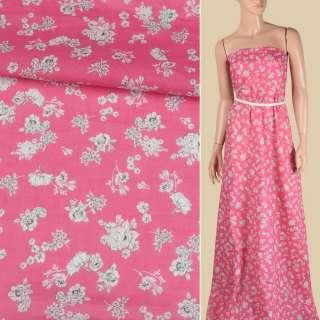 Батист розовый, мелкие белые розы, ш.140