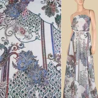 Батист белый в сине-зеленый цветочный орнамент, ш.145
