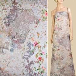 """Батист """"Apanage"""" перловий в рожево-зелені квіти та візерунки ш.145"""