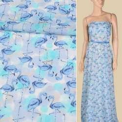 Батист бузково-блакитний, блакитні фламінго, ш.150