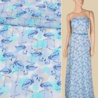 Батист сиренево-голубой, голубые фламинго, ш.150