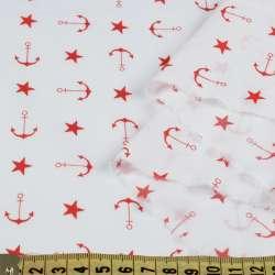Коттон стрейч білий, червоні зірочки, якоря, ш.150