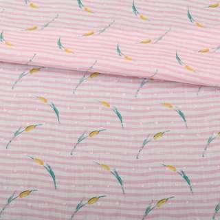 Батист в бело-розовую полоску, желто-зеленые цветы, жаккардовые точки, ш.145