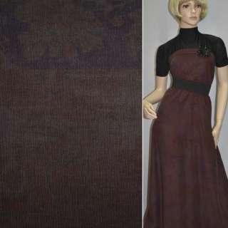 Микровельвет бордовый темный с сиренево-фиолетовым абстрактным рисунком, ш.142