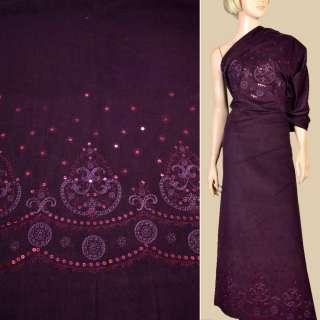 Мікровельвет стрейч фіолетовий з вишивкою та паєтками, РАПП. 102 см, ш.140