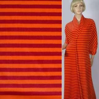 """Велюр бавовняний """"Nicki Streifen"""" помаранчевий в темні смуги (10мм) ш.152"""