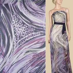 Вискоза жатая сиреневая в фиолетово-серый абстрактный рисунок, ш.148