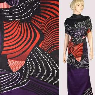 Вискоза в красно-черные, фиолетовые волны, раппорт 120 см, ш.150