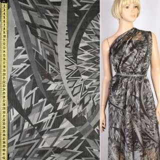 Вискоза серая в черно-серый абстрактный рисунок, ш.148