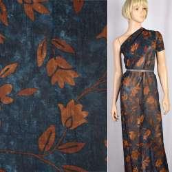 Вискоза синяя в коричневые цветы, листья, ш.140