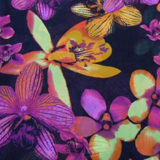 Вискоза-креп черная с оранжево-сиреневыми цветами