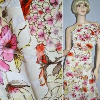 Вискоза блуз. молочн. с роз.-красн. цвет. и флоком