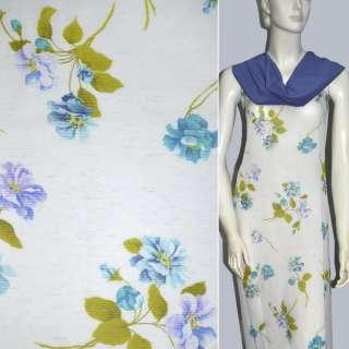 Віскоза біла з бірюзовими квітами ш.142
