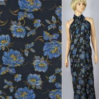 Креп вискозный черный с сине-желтыми цветами ш.145
