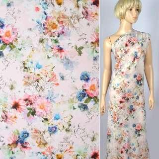 Вискоза розовая в желто-розово-голубые цветы ш.143