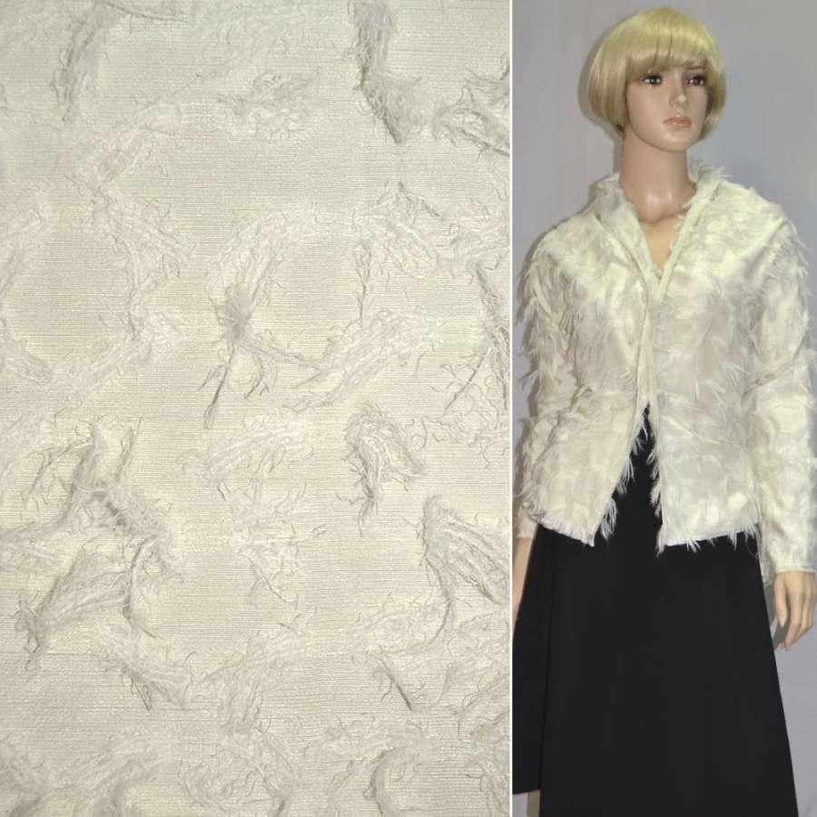 Вискоза костюмная бледно-салатовая с вытянутыми ворсистыми нитям, 145 см