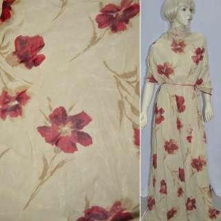 Креп жоржет бежевый в красные цветы ш.140