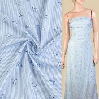 Вискоза в бело-голубую полоску, синие птички ш.140