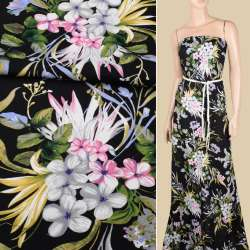 Віскоза чорна, рожеві, сірі квіти, оливкове листя, ш.145