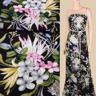 Вискоза черная, розовые, серые цветы, оливковые листья, ш.145