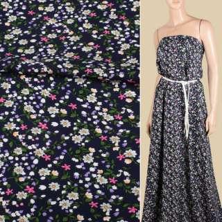 Вискоза синяя темная, мелкие белые, розовые, сиреневые цветки, ш.143