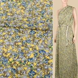 Віскоза жовта, дрібні блакитні, білі квіти, ш.140