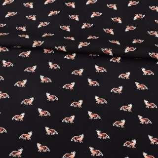 Вискоза черная, рыжие лисички, ш.145