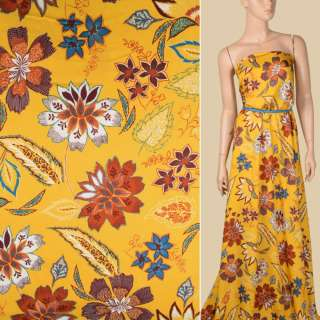Вискоза желтая яркая, коричневые, белые цветы, листья, ш.146