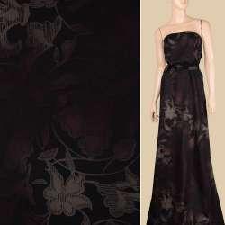 Віскоза чорна в оливково-коричневі квіти, ш.143